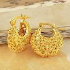 Womens Girls Children Fashion 9k Yellow Gold Filled Hollow Hoop Earrings Huggie