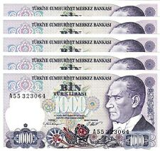 Turkey 1000 Lira 1970-1986 5 Pcs Lot P-196 XF++