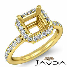 Diamond Engagement Proposed Ring 14k Yellow Gold Asscher Semi Mount Halo 0.36Ct