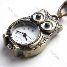 Hot ! Brone Tone Owl Key Ring Chain Pendant Pocket Quartz Watch Gift