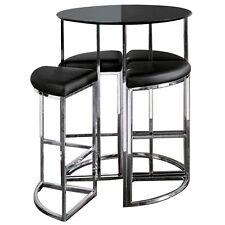 New Dwell Style Gloss Black Orbit Bar Barstool Table Set inc 4 Chairs