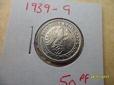 German 50 Reichspfennig 1939-G Scarce Third Reich Nickel Coin WW2 pf