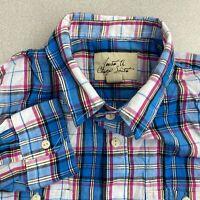Just A Cheap Shirt Button Up Shirt Mens M Blue Pink Long Sleeve Cotton Plaid