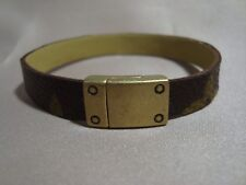 Bracelet Upcycled Louis Vuitton Canvas Handmade Antique Brass Magnetic Clasp