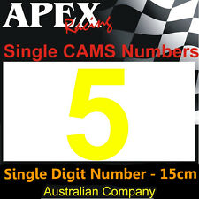 CAMS Window Number 5 Sticker - Single Number 15cm - Race Rally Drift - Yellow