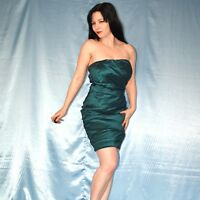 smaragd grünes COCKTAILKLEID trägerlos* S 38 * Minikleid* Partykleid* Abendkleid