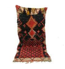 Moroccan Berber vintage rug 3x8 Boucherouite rug, Boucherouit, oriental rug