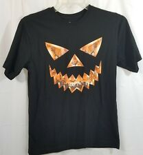 Halloween Pumpkin Shirt 2XL XXL Jack O Lantern Black Orange Graveyard Bats Trees