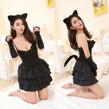 Sexy Sissy Cat Lady Cosplay Suit with Tail 5 Pieces Set Women Cosplay body dress