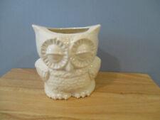 Vintage Handmade in USA Ceramic Owl Planter Glazed White