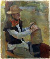 """Russischer Realist Expressionist Öl Leinwand """"Bauer"""" 70x60 cm"""