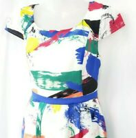 Modcloth Artist Paint Dress Size Medium Fit and Flare