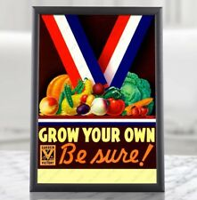 WWII Victory Garden Poster - WW2 Rationing Military Wall Decor, Reproduction