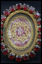 † DNJC TRUE CROSS RELIC GOLDEN BRONZE RED RHINESTONE JESUS RELIQUARY WAX SEAL †