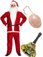 Men's Christmas Santa Clause Suit Jingle Bell Inflatable Belly Father Xmas Outfi