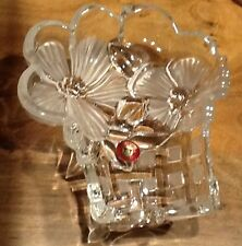 German crystal Flower Pot & Flowers Mikasa Walther Glass West Germany, Frosted