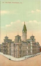 Philadelphia Pennsylvania~City Hall~Clock Tower~Cloudy Sky~1910 Postcard