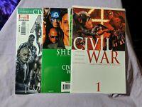 Civil War Marvel Comics Lot (Issues: Civil War 1 / She-Hulk 8 / New Avengers 1)
