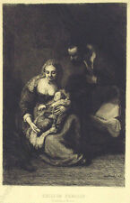 """Peter Halm (b.1854) """"Rembrandt's Holy Family"""", Etching, 1880s"""