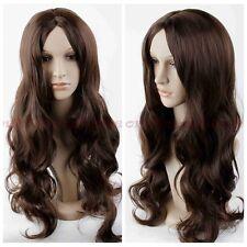 Womens Girls Long Curly Wavy Full hair wigs Cosplay Party Costume Dark Brown+Cap