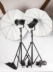 Bowens Gemini GM125.  2 Head Studio Flash Kit + Stands, Brollies, Trigger +  EXC