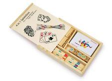 4 in 1 Set di gioco in legno PORTATILE CARTE DOMINO PICK UP BASTONI Poker Dices VIAGGIO