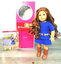 "American Girl DOLL 18"" SAIGE + MEET OUTFIT BOOK Tag Red Hair Blue Eyes AG BOX!"