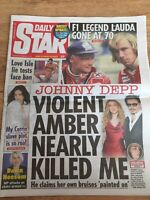 Nikki Lauda Obituary Front Page F1 Racing Newspapers Daily Star 22/05/2019