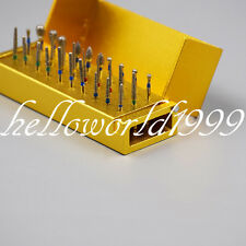 30 Pcs Dimond Bur + Aluminum 30 Holes Opening Bur Holder Stand Disinfection Box