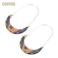 Women Acetate Tortoise Shell Crescent Moon Drop Hoop Earrings Fashion Jewelry