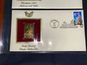 22K Gold 1997 Bugs Bunny First Day Cover Gold Proof Stamp Replica (205)