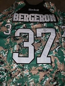 Patrice Bergeron Signed Autographed Boston Bruins Military Jersey Camouflage