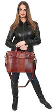 Womens Real Leather BROWN Briefcase Executive Work Office Organiser Grab Bag NEW
