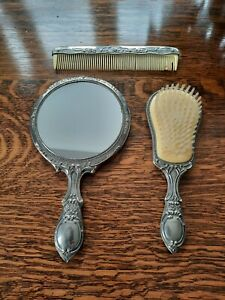 VINTAGE DRESSING TABLE SET - x 3 Plated Mirror Brush Comb Set Floral Pattern