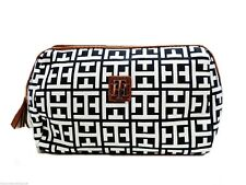 Tommy Hilfiger Small Dome Cosmetic Bag White and Navy Signature Print Pouch New!