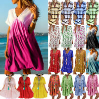 Plus Size Womens Floral Baggy Tops Dress Ladies Summer Frill Smock Loose Kaftan