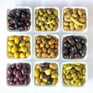 Varieties of Olives in Bowls on White Background Decor Food Kitchen Print