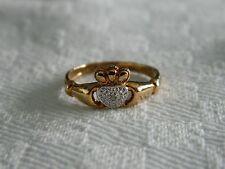 9ct Yellow Gold Diamond Set Celtic Claddagh Ring size M