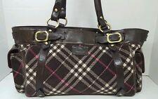 Burberry Vintage Blue Label Large Shoulder/Tote Bag,Nova Check, Corduroy/Leather