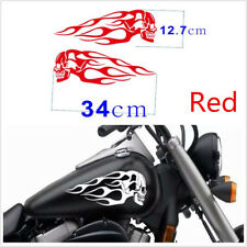 Pair Red Motorcycle Skull Flame Stripes Gas Tank Vinyl Decal Sticker 34x12.7cm
