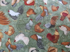 Chicken Rooster Cotton Fabric Teresa Kogut SSI green ground BTHY half yard cut