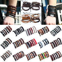 New Handmade Wristband Wrap Cuff Punk Unisex Men Braided Leather Bracelet Bangle