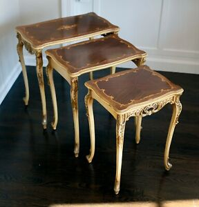 Antique Stacking Tables, French Provencal from ~1940s, Beautiful Detaining