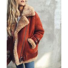 Winter Womens Suede Wool Coat Motorcycle Bike Jacket Warm Faux Fur Parka Outwear