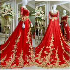 Gold Applique Wedding Dress Lace Sequin Formal Bridal Gown Red Long Sleev
