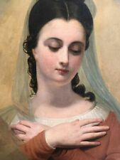 French 1830's Antique Oil Painting of St Cecilia, Patroness of Music