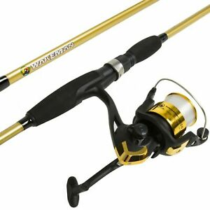 Strike Series Gold Bait Cast Spinning 2 Pc Long Rod and Reel Combo 78 Inches