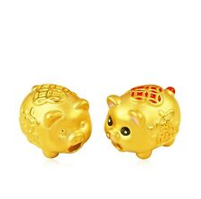 1PCS Pure 999 24K Yellow Gold Bead 3D New Style Lucky Coin Pig Pendant