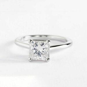 2.00 Ct Princess Cut Diamond Engagement Wedding Ring 18K White Gold Designer USA