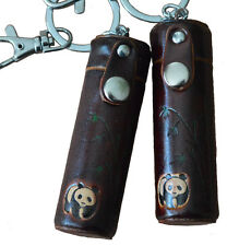 A Pair of Leather ChapStick/toothPick Holder,Pill Case.Panda Pattern. DarkBrown